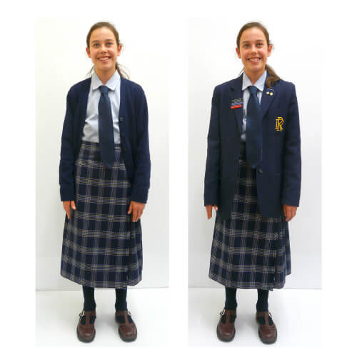 f1615577c Kilt (length – midway between ankle and knee) or skirt (length to be just  below the knee) RR Light blue long-sleeved shirt. Navy tie